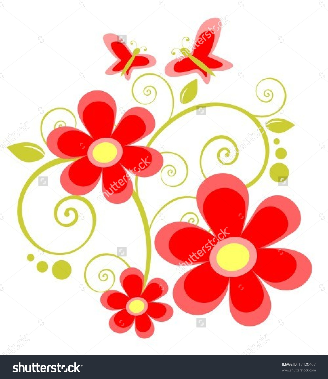 Cartoon Red Flowers Butterflies On White Stock Vector 17420407.