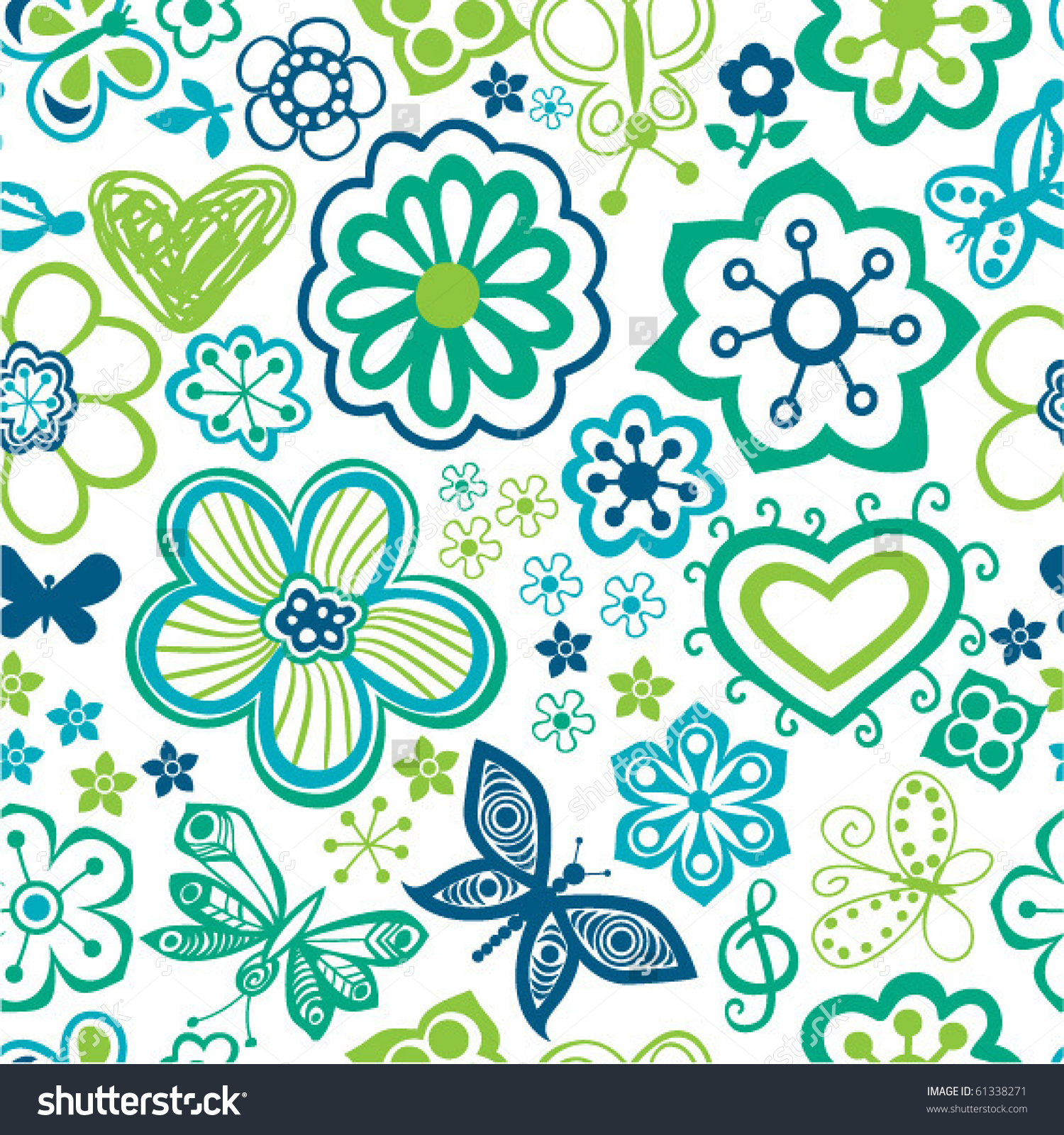 Bright Cartoon Seamless Pattern Flowers Butterflies Stock Vector.