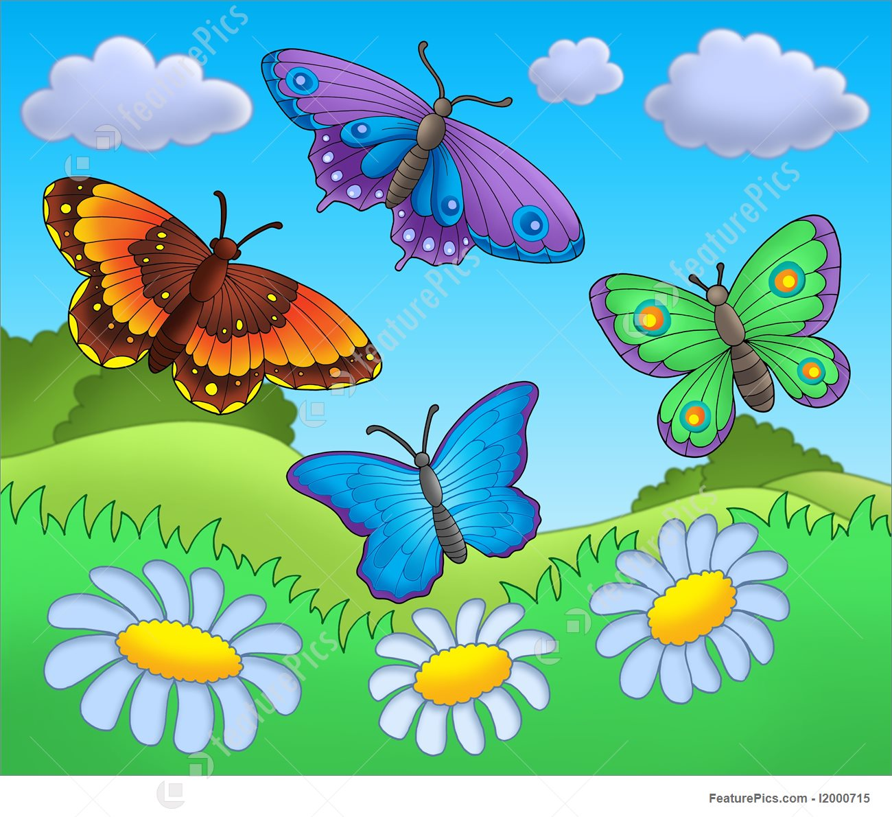 Illustration Of Butterflies On Meadow.