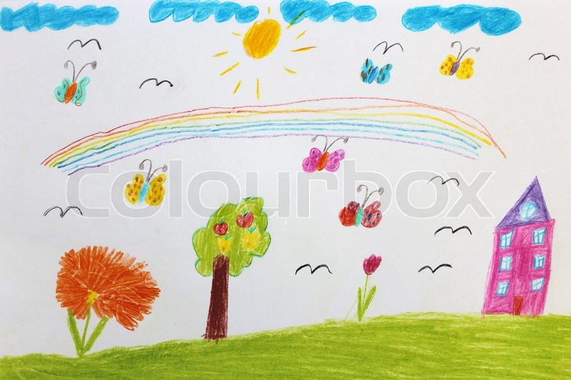 Children's drawing with butterflies and flowers.