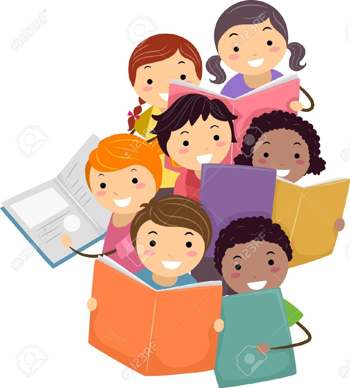 Illustration Of Stickman Kids Reading Books Stock Photo, Picture.
