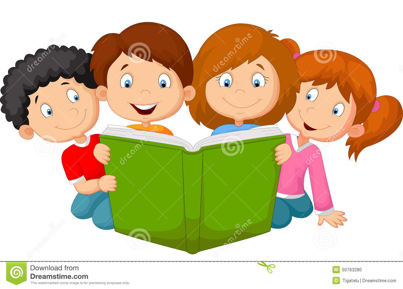 Cartoon Pictures Of Kids Reading Books.