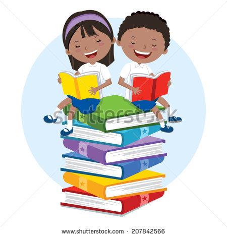 Cartoon Kids Reading Book Stock Vector 247871017.