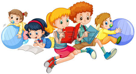 Kids Reading Books Cartoon Images & Stock Pictures. Royalty Free.
