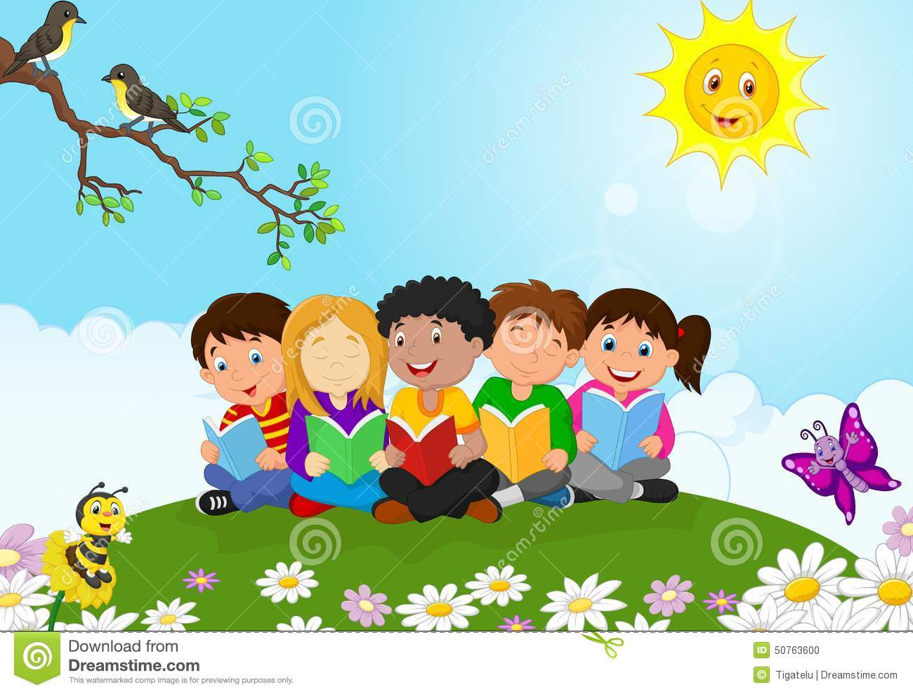 Happy Children Cartoon Sitting On The Grass While Reading Books.