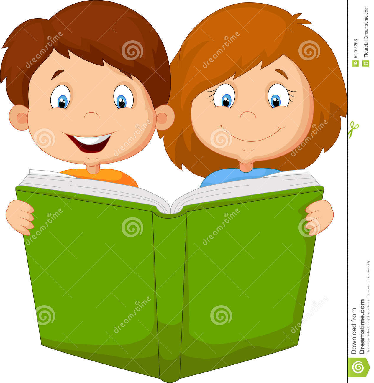 Cartoon Kids Reading Book Stock Vector.