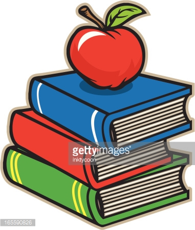 Apple And Books Vector Art.