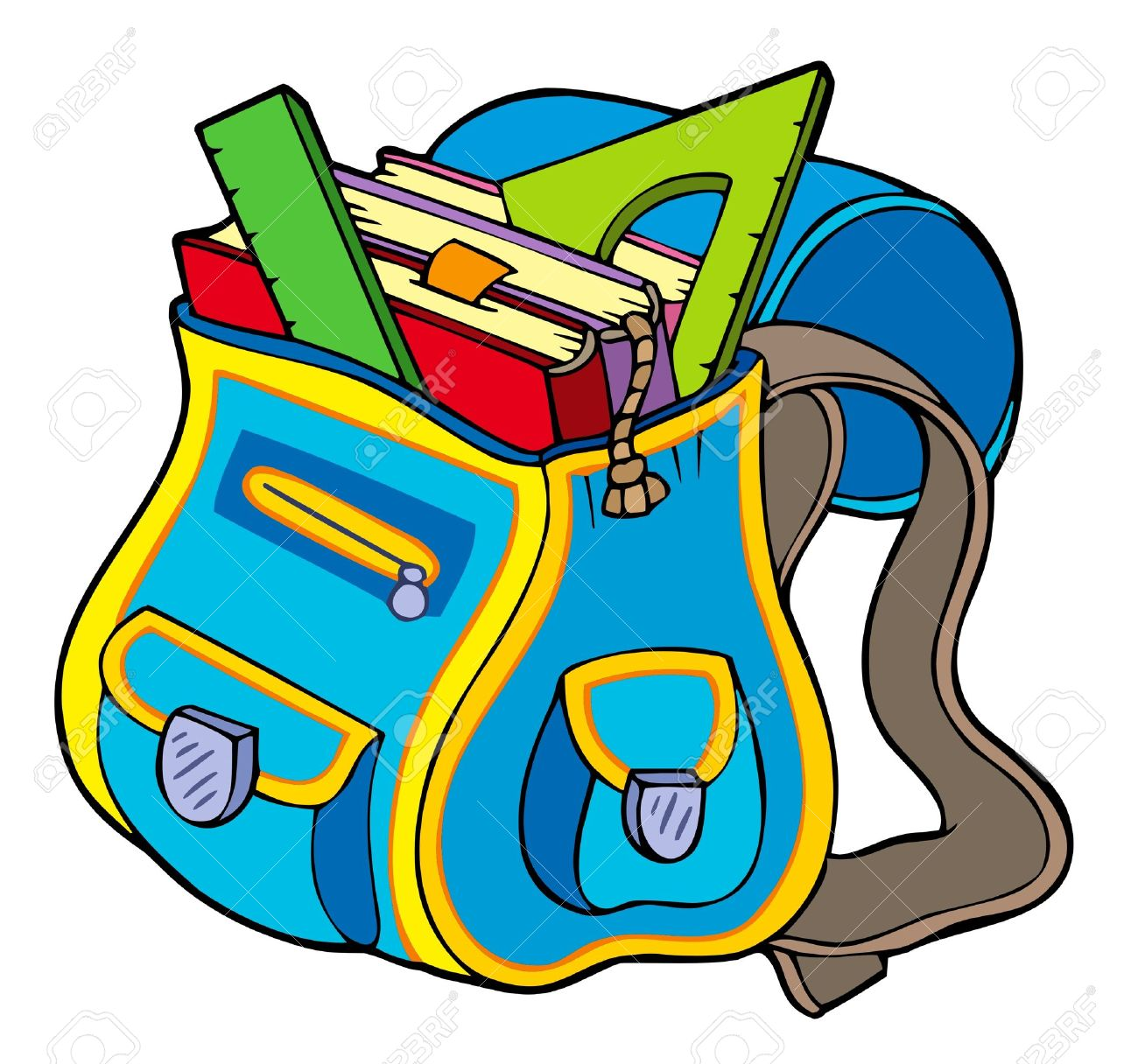 School Bag With Books Royalty Free Cliparts, Vectors, And Stock.
