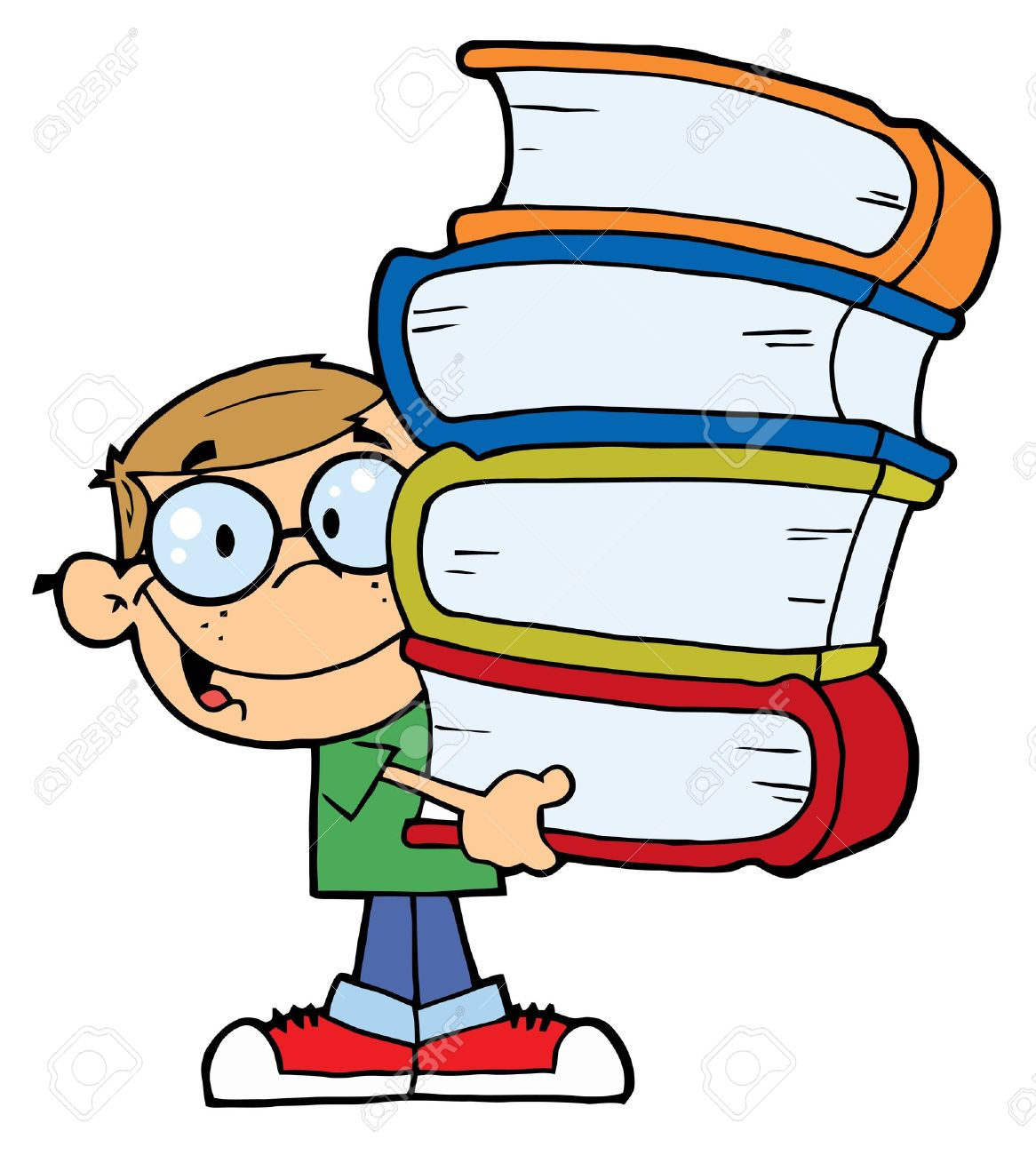 Caucasian School Boy Carrying A Stack Of Books Royalty Free.
