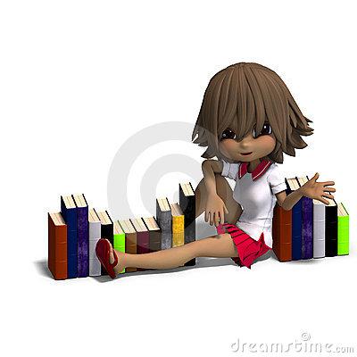 Cute Little Cartoon School Girl Reads A Book. 3D Royalty Free.