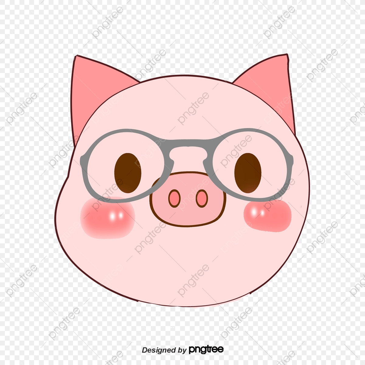 Pink Cartoon Pig Head, Cartoon Clipart, Pig Clipart, Head Clipart.