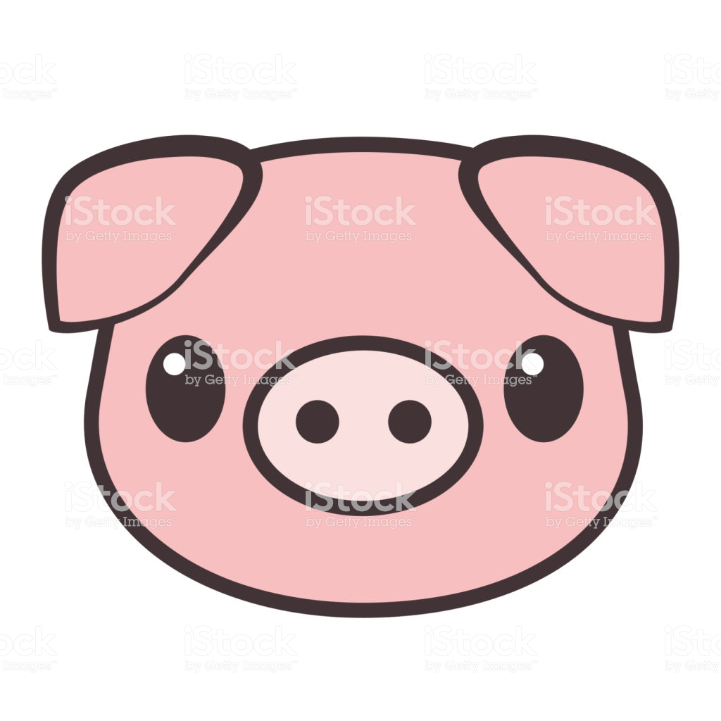 Cartoon Pig Face Vector Illustration Stock Illustration.