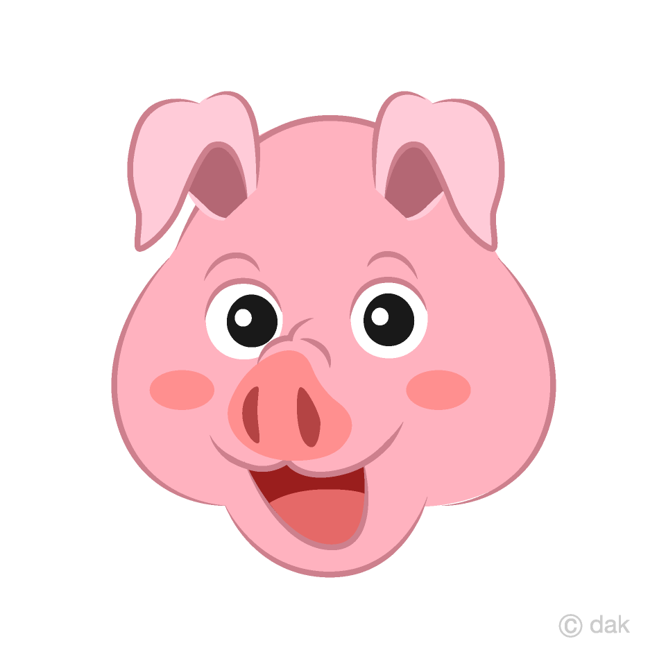 Pink Pig Face Cartoon Free Picture|Illustoon.