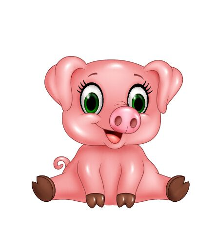 Cute pink pig cartoon vector.