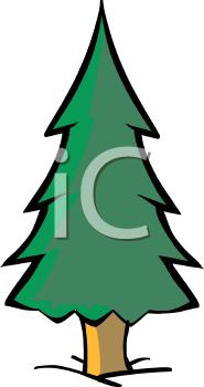 Royalty Free Clip Art Image: Simple Cartoon Pine Tree.