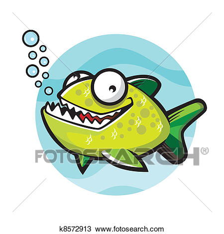 Cartoon green piranha Clipart.