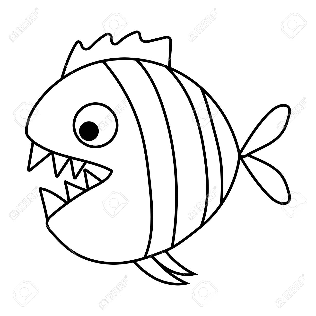 cute cartoon piranha with sharp teeth. Vector illustration.