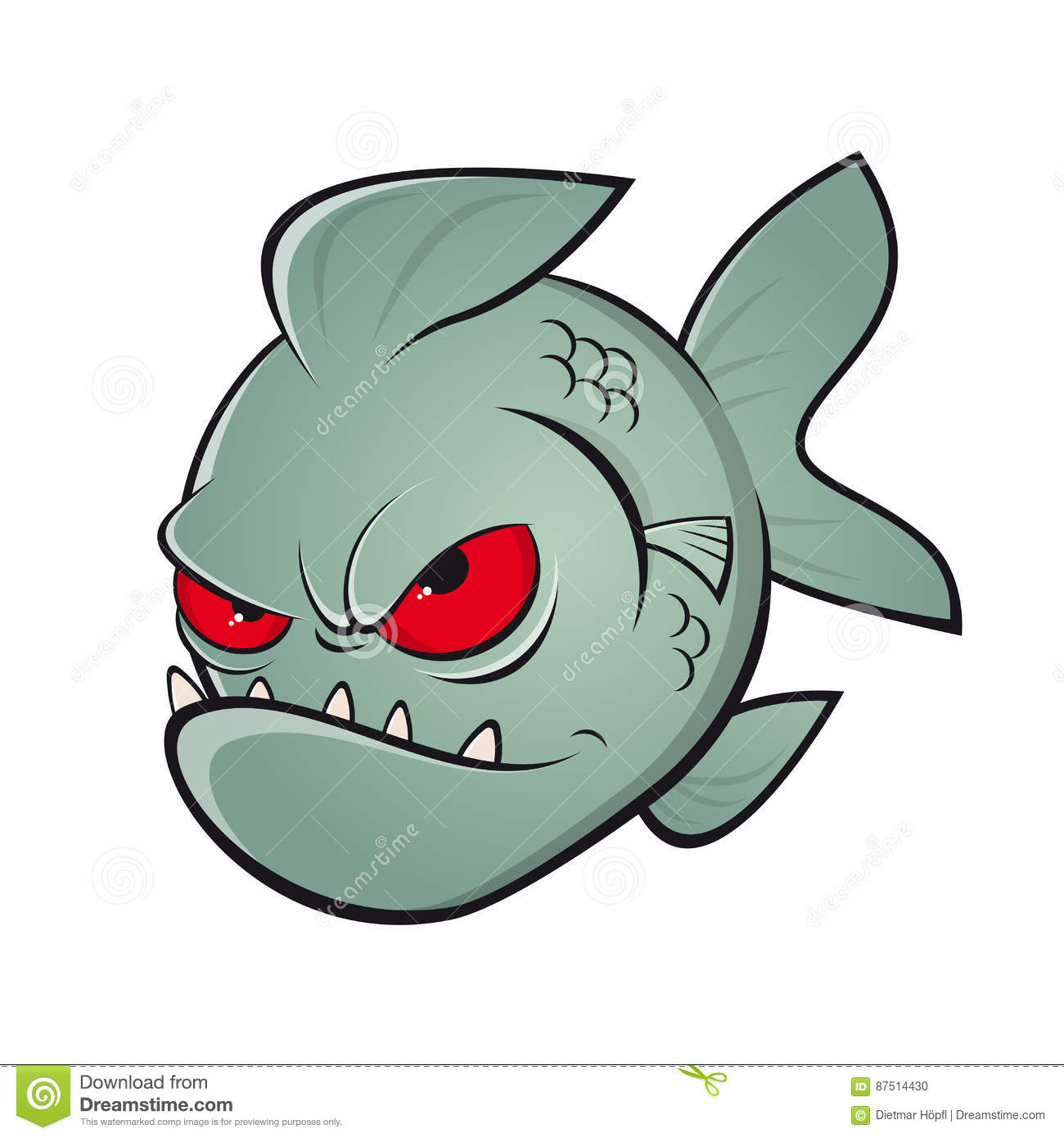 Angry cartoon piranha stock vector. Illustration of dangerous.