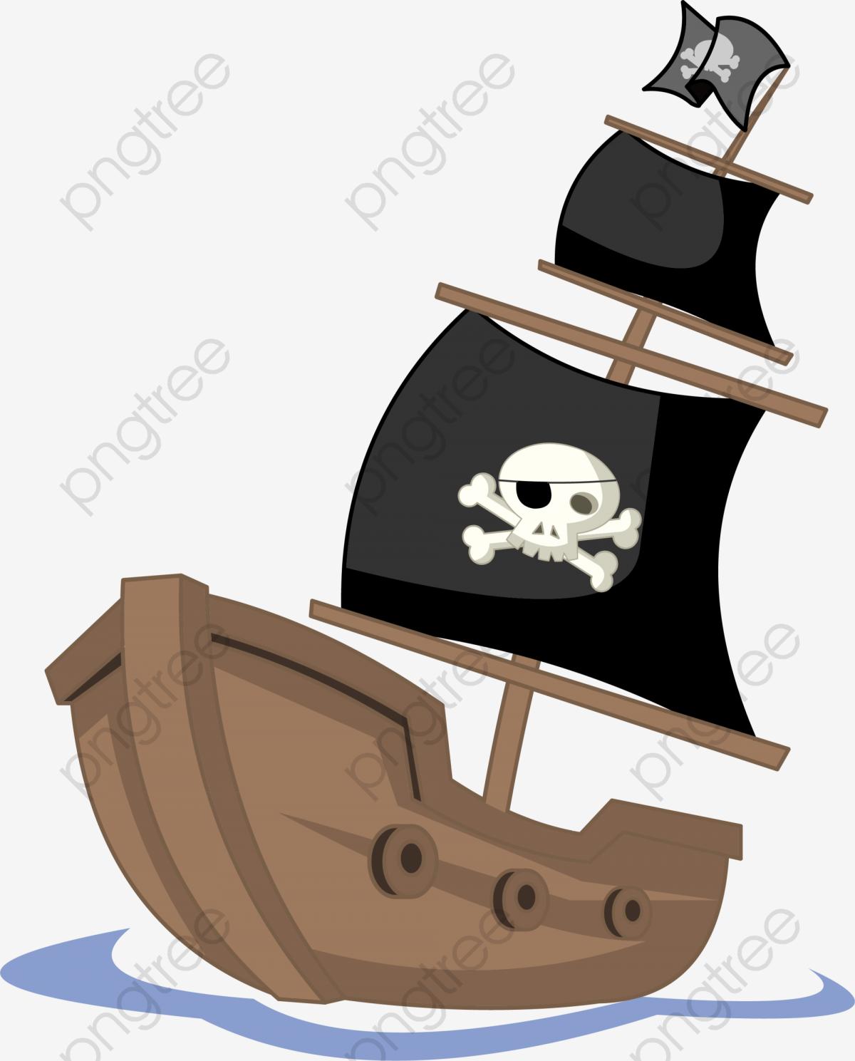 Brown Cartoon Pirate Ship, Cartoon Clipart, Pirate Clipart, Ship.