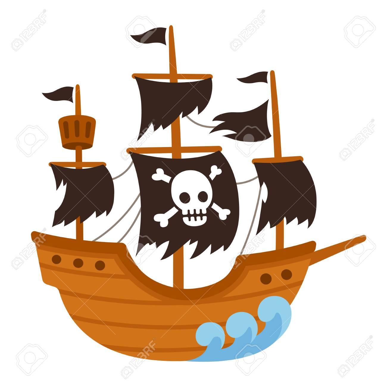 Cartoon pirate ghost ship illustration with skull flag and torn...