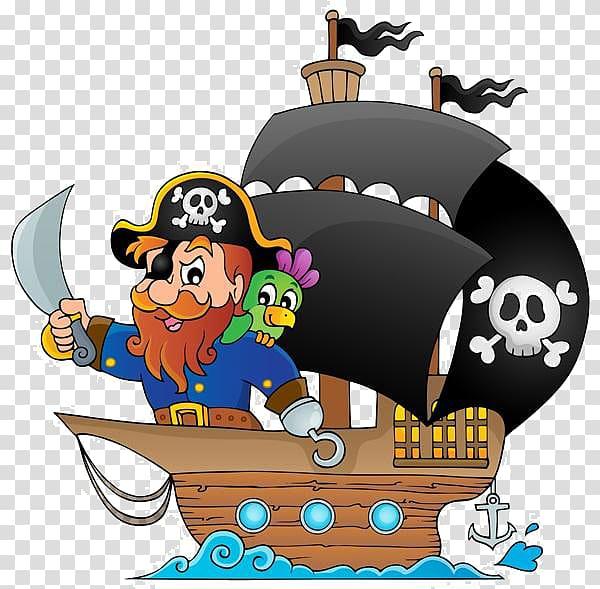 Piracy Cartoon Ship , Cartoon pirate pirate ship transparent.