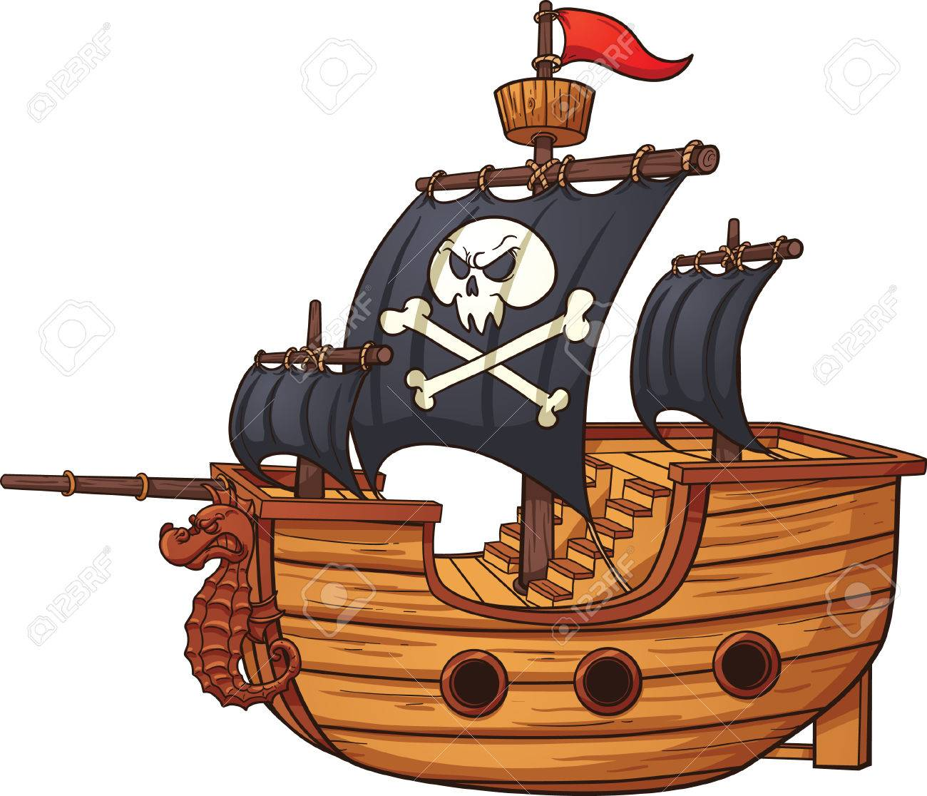 Cartoon pirate ship. Vector clip art illustration with simple...