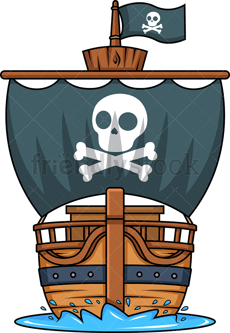 Front View Of A Pirate Ship.