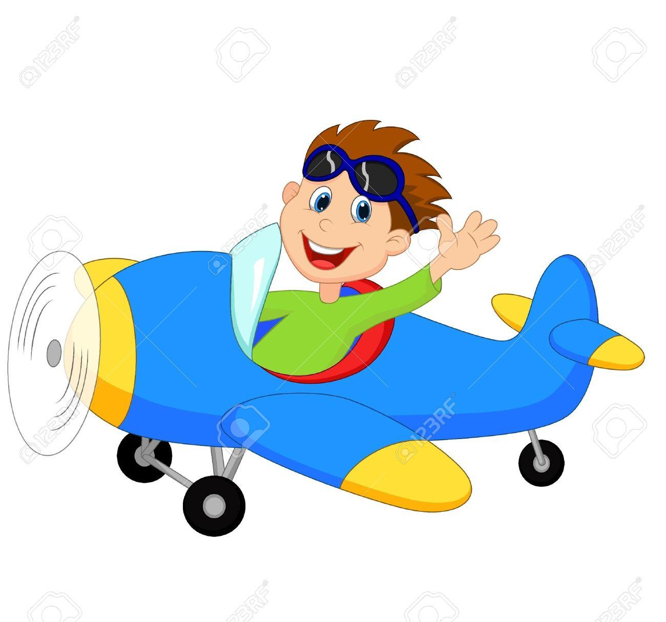 Little Boy cartoon Operating a Plane.
