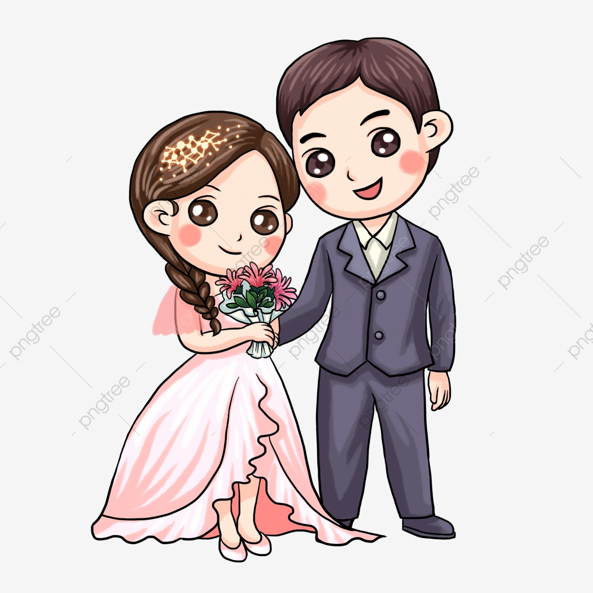 Chinese Style Cartoon Bride And Groom Wedding, Illustration, Married.