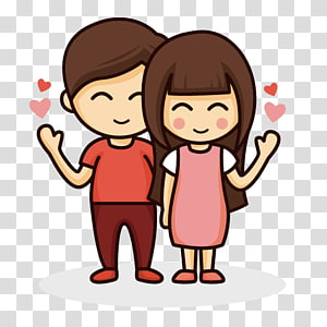 Girl kissing boy on cheek , Kiss Cartoon , Cartoon couple.