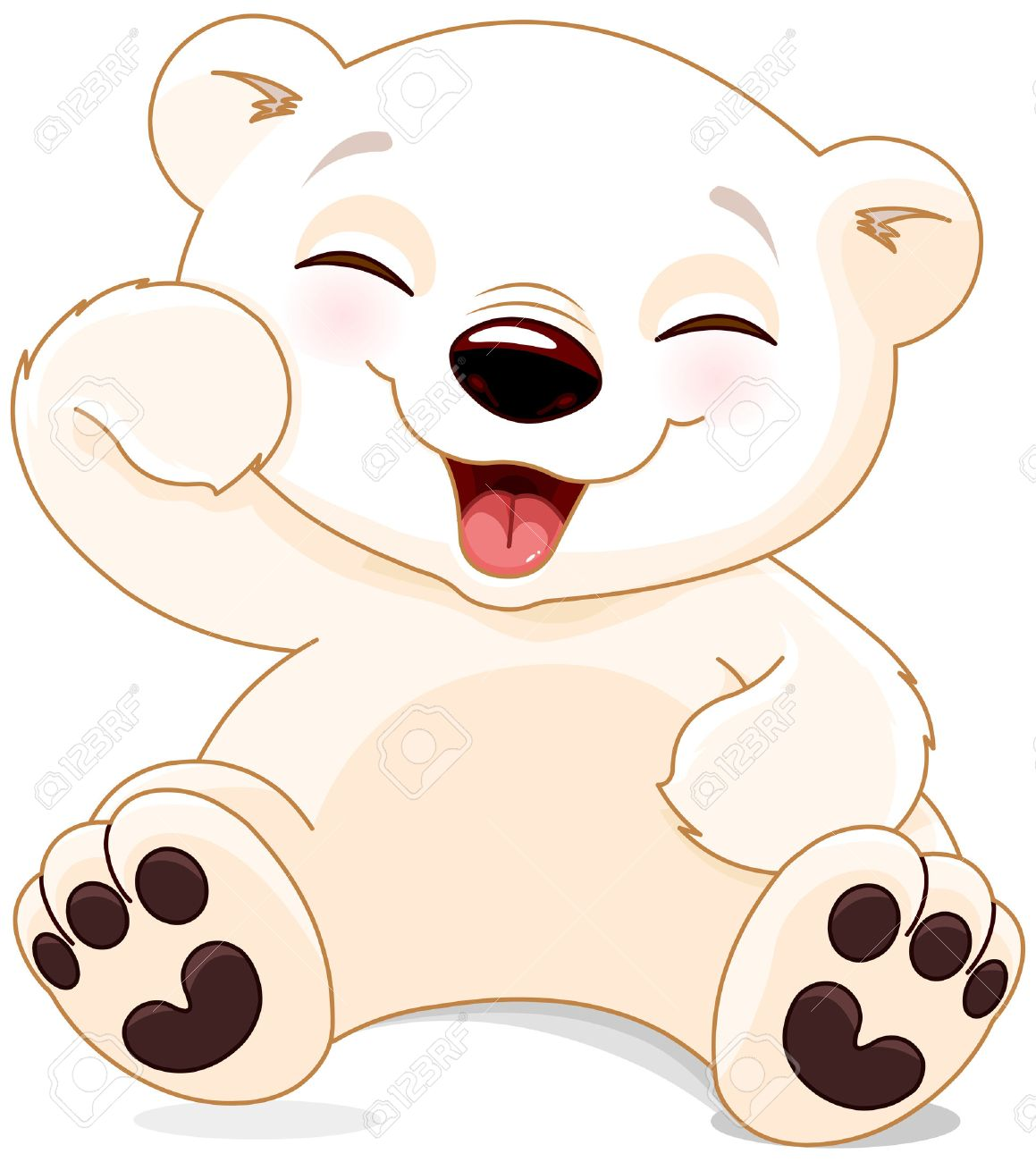 Illustration of cute polar bear is laughing.