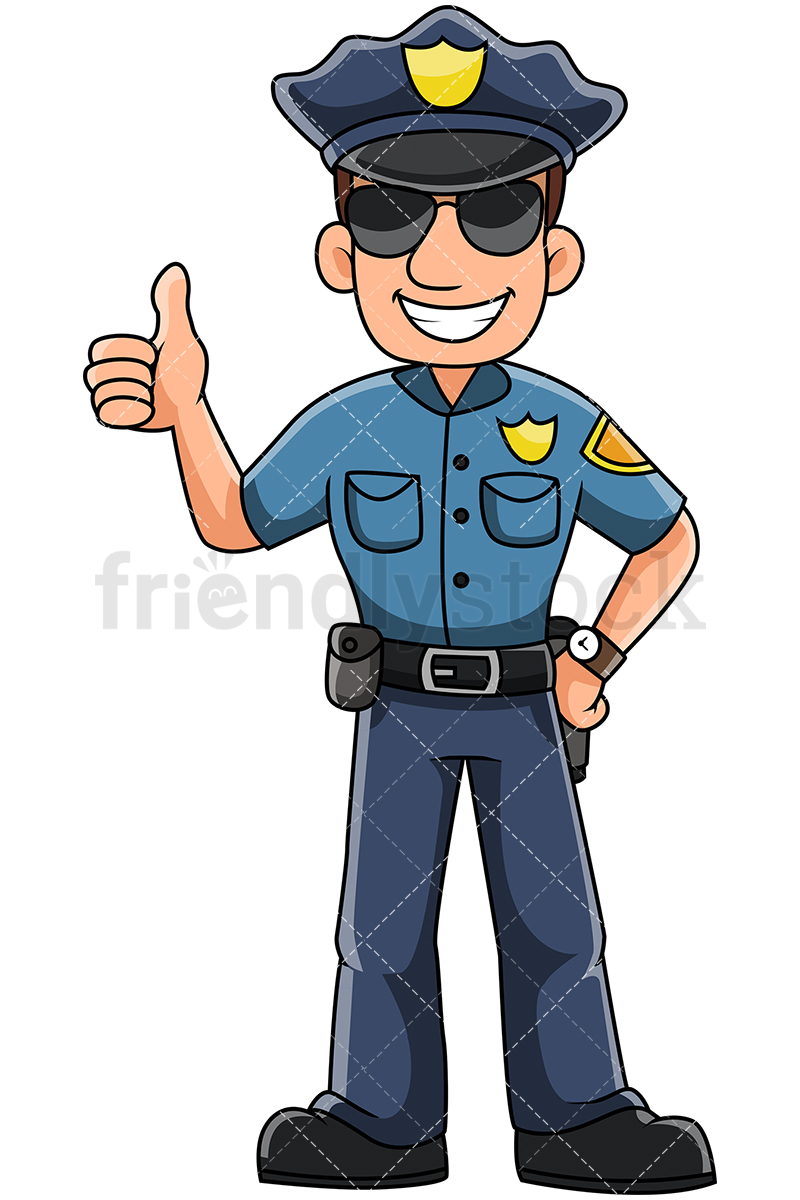 Male Police Officer Gesturing Thumbs Up And Smiling.