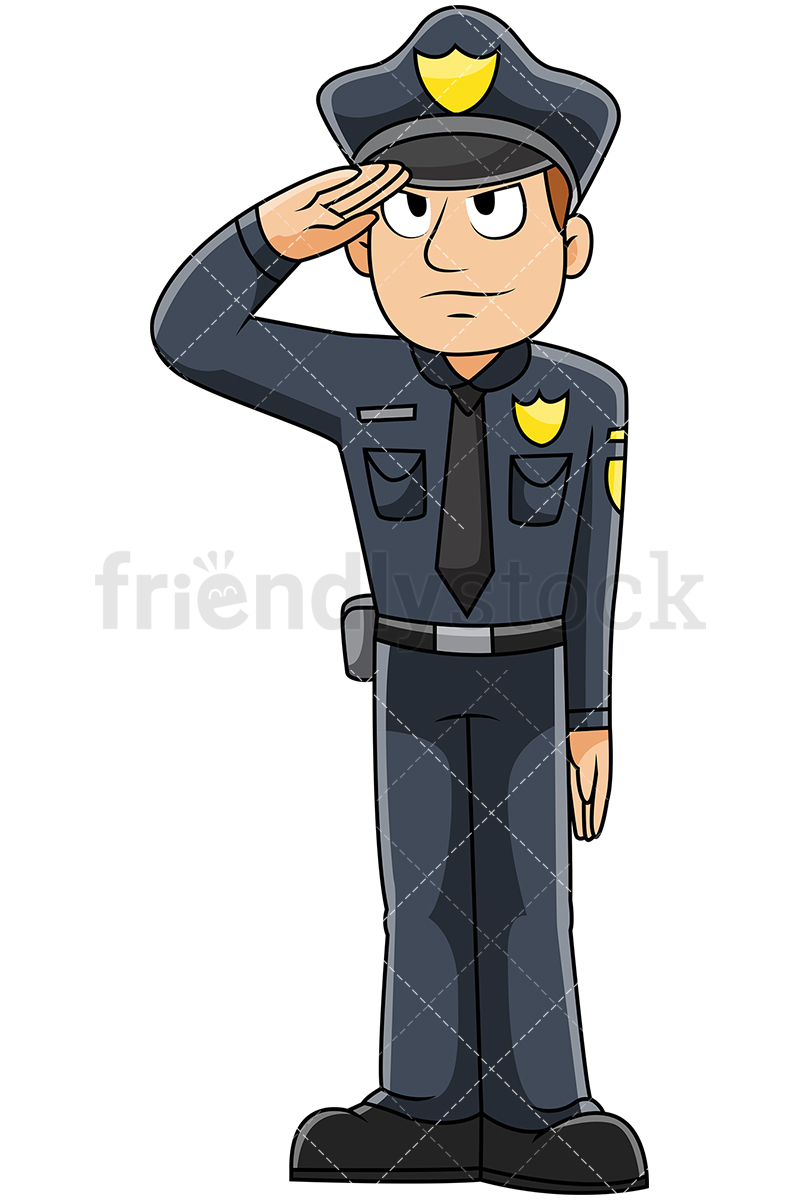 Male Police Officer Saluting.