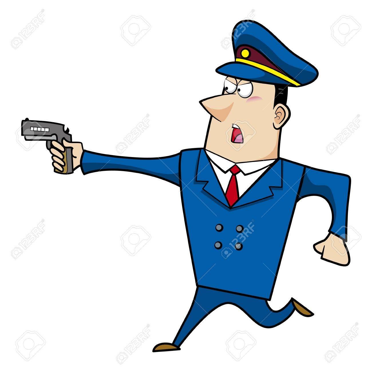 male cartoon police officer running with a gun.