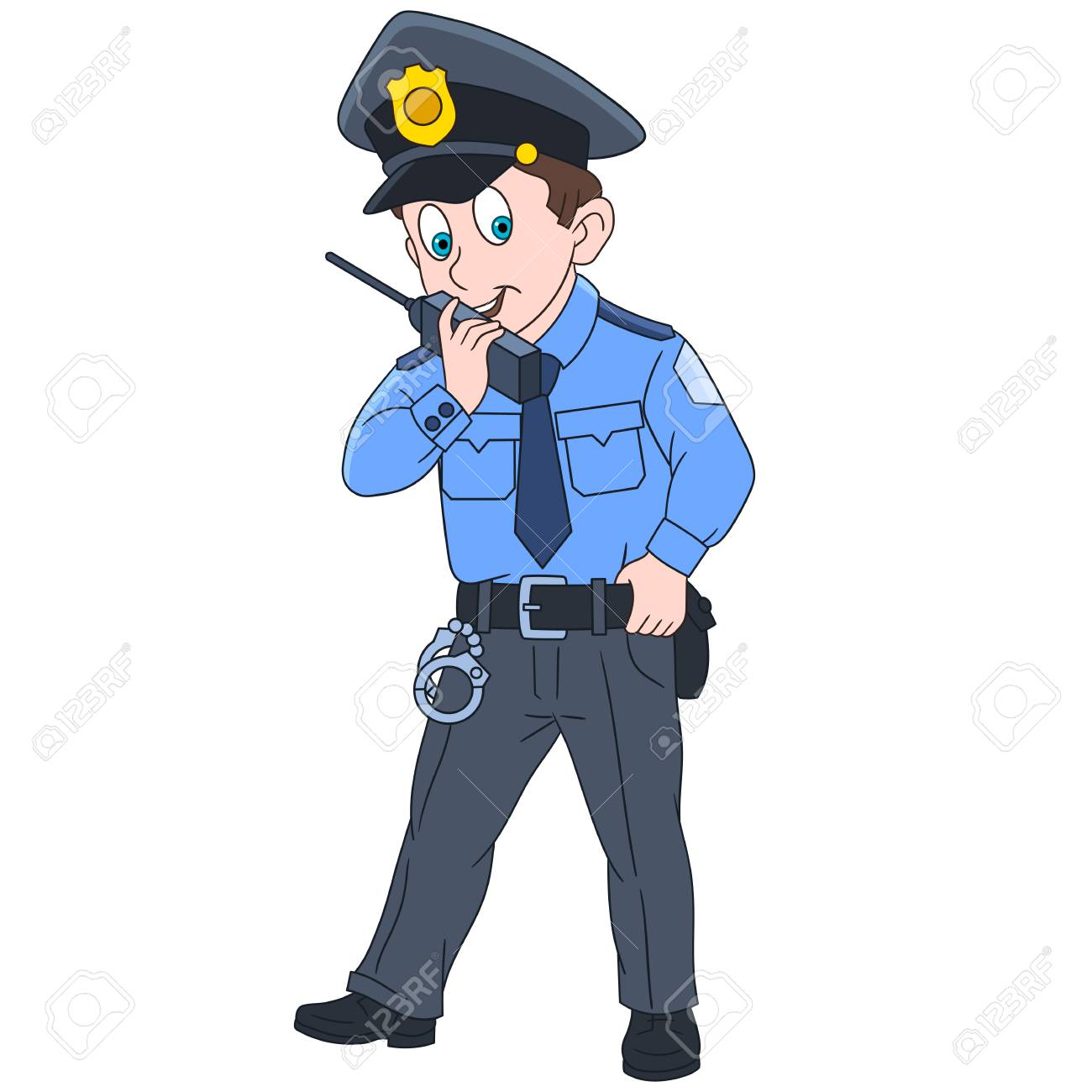 Cartoon police officer, policeman, isolated on white background.