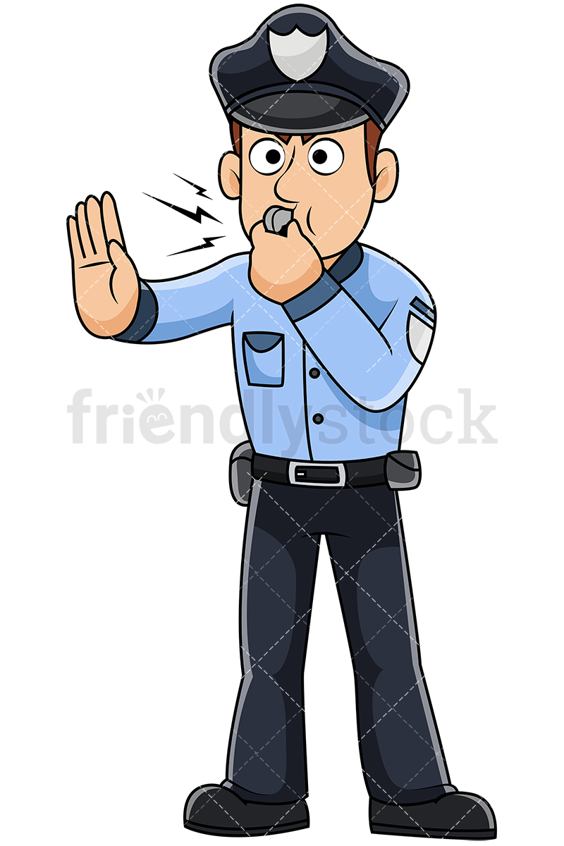 Male Police Officer Blowing Whistle And Asking Someone To Stop.
