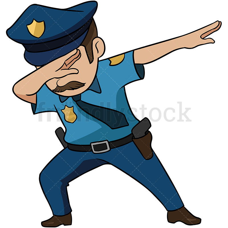 Dabbing Police Officer With Moustache.