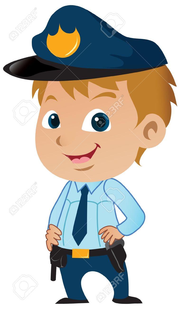Cute little cartoon policeman posing proudly..