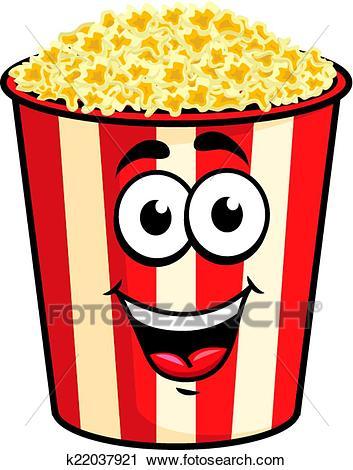 Cartoon popcorn character Clipart.