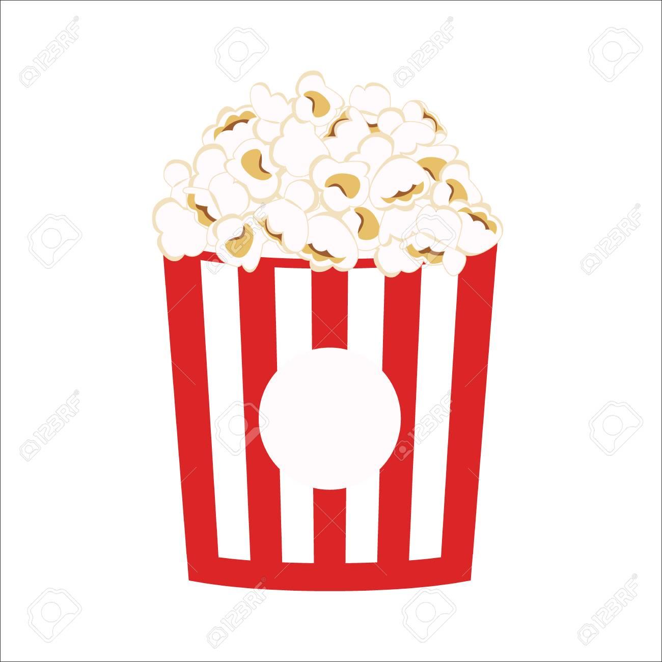 Popcorn clipart vector icon. Pop corn cartoon..