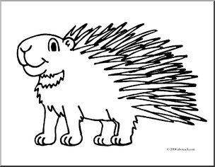 Clip Art: Cartoon Porcupine (coloring page) I abcteach.com.
