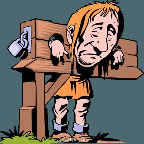 Cartoon Prisoner Royalty Free Vector Clip Art illustration.