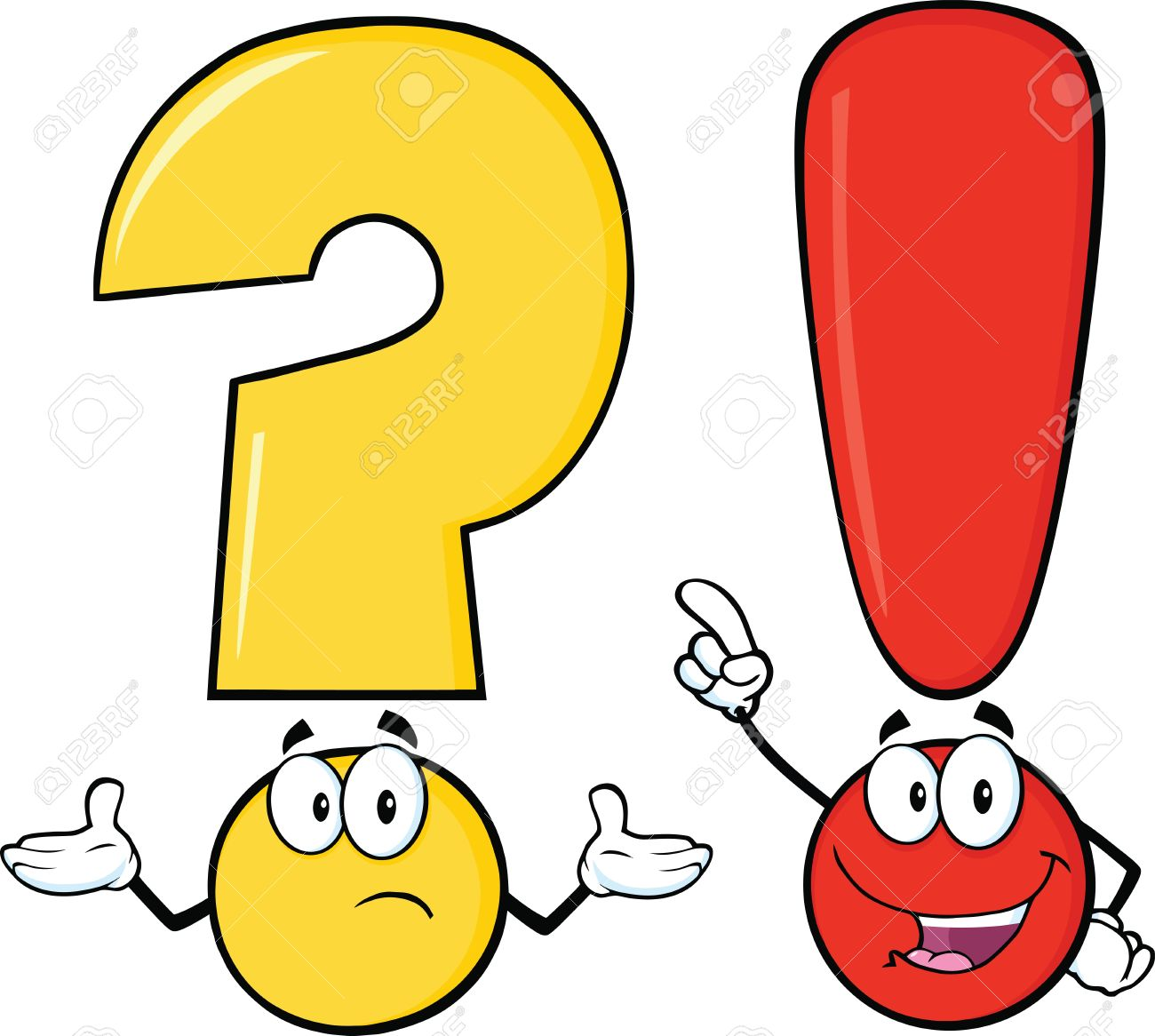 Question Mark And Exclamation Mark Cartoon Characters Royalty Free.