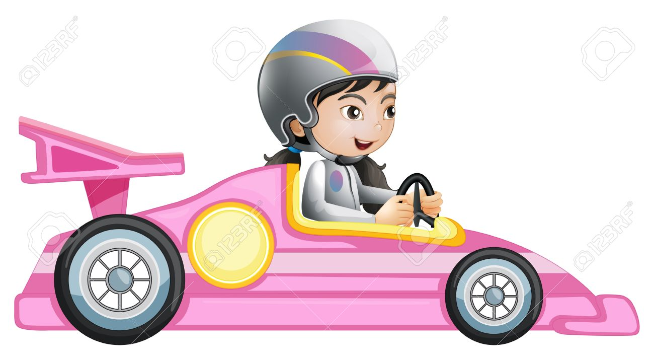 Illustration of a girl riding in a pink racing car on a white...