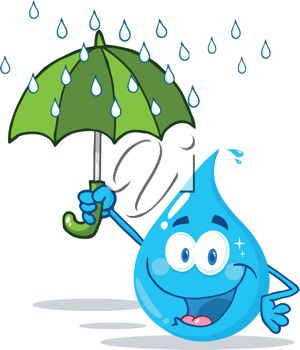 Picture of a Happy Smiling Cartoon Raindrop Holding an Umbrella In a.