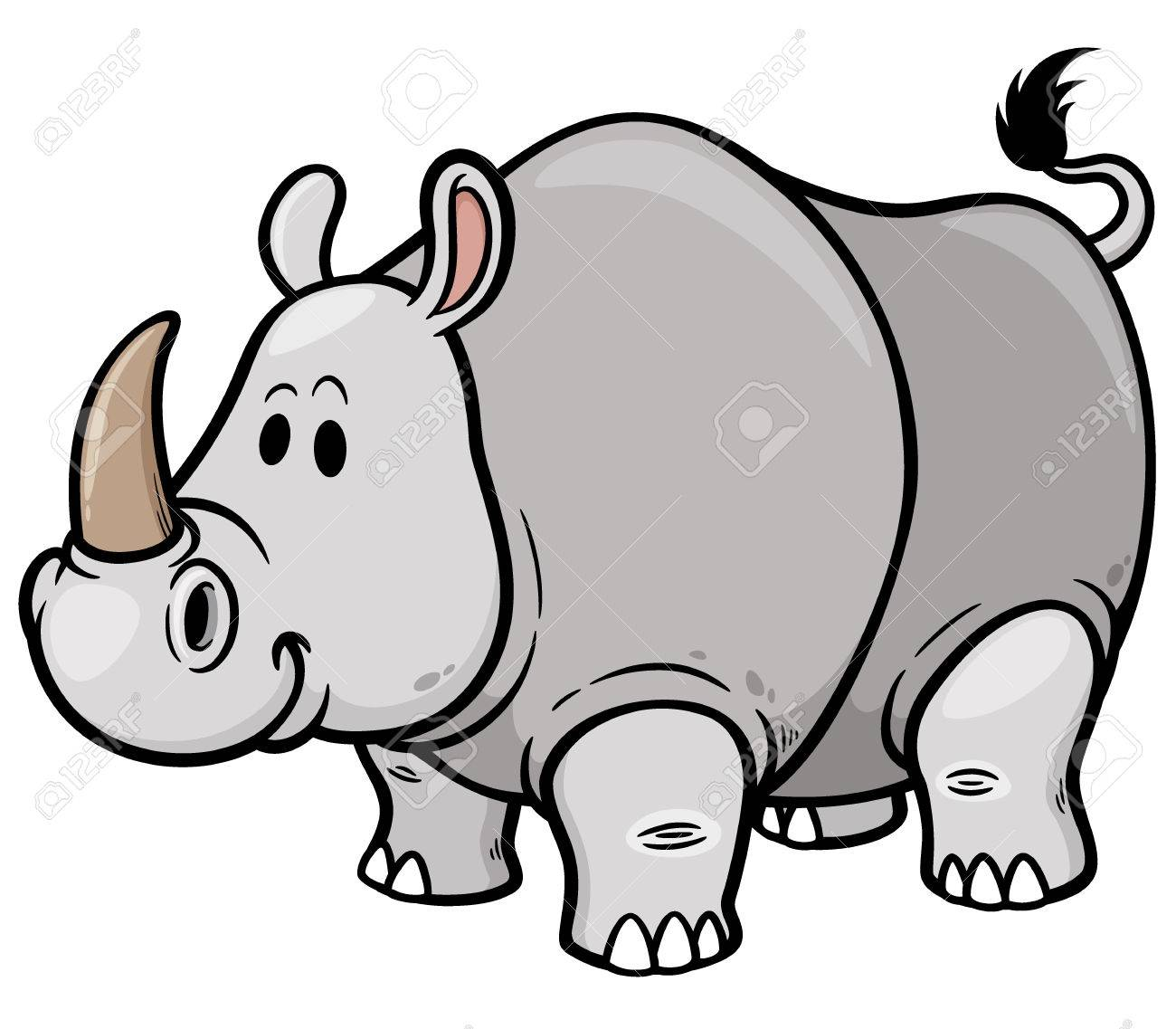 Vector illustration of Cartoon rhino.