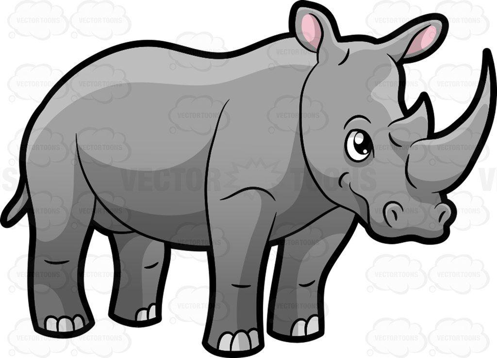 A rhinoceros showing off its big horn : A big four legged animal.