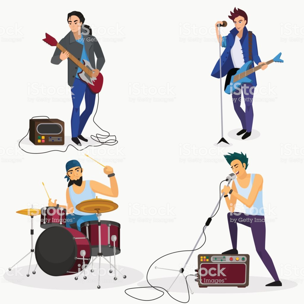 Rock Band Members Isolated Musical Group Singer Drummer Guitar.