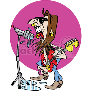 cartoon rockstar clipart. Royalty.