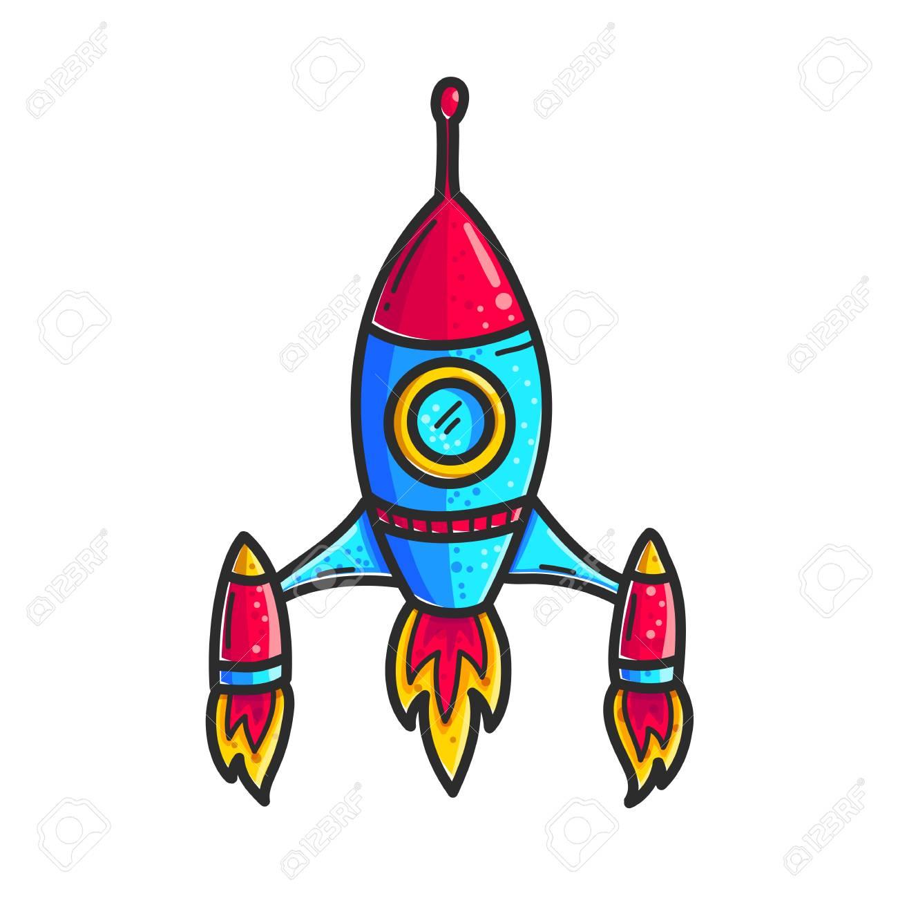 Cartoon rockets hand drawn color icon. Cute space shuttle clipart.